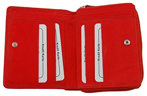 NB24Versand Damen Geldbörse BAG STREET (5473) Echt Leder, rot Brieftasche
