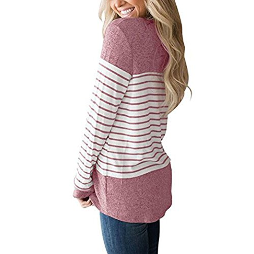 - ❤️ Striped Stitching Top Clearance Womens Long Sleeve Round Neck T Shirts Color Block Striped Causal Blouses Tops Blue Brown Dark Gray Pink Duseedik