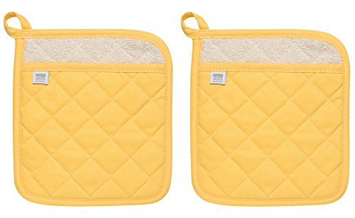 Now Designs Superior Potholders, Set of Two, Lemon Yellow ()