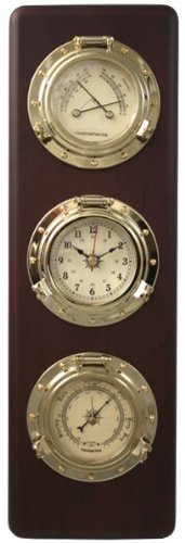 Ambient Weather WS-GL032-CM Porthole Collection Weather Center with Temperature & Humidity, Quartz Clock, Barometer