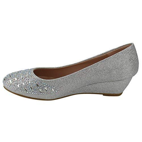 Forever Womens Low Wedge Heel Closed Toe Wedding Party Dress Sandals Shoes Fisher Silver 5 -
