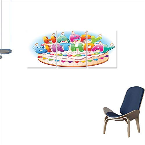 Anniutwo Birthday Decorations for Kids Canvas Print Wall Art Bliss Buds Cartoon Happy Birthday Party Image Cake Candles Hearts Print Wall Sticker for Kitchen 16