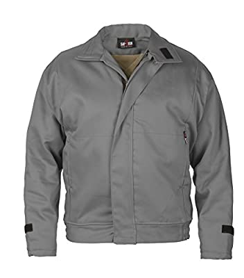 GRAY - MEDIUM - Saf-Tech FR 6OZ NOMEX INSULATED WORK JACKET WITH REMOVABLE (ZIP-IN/ZIP-OUT) 10OZ MODA QUILT LINER - HRC 3 - APTV=36.8cal/m2 - MADE IN THE U.S.A.
