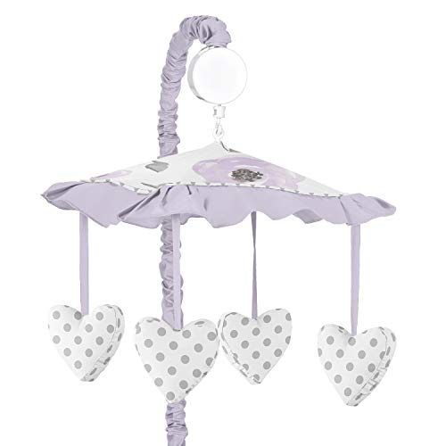 Sweet Jojo Designs Lavender Purple, Pink, Grey and White Musical Baby Crib Mobile for Watercolor Floral Collection - Rose ()