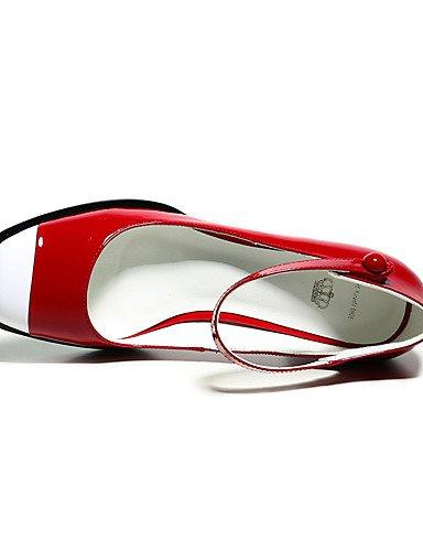 GGX/Damen Schuhe Leder Heels/Schuhe Heels Office & Karriere/Party & Abend/Kleid Chunky Ferse Schnalle red-us5.5 / eu36 / uk3.5 / cn35