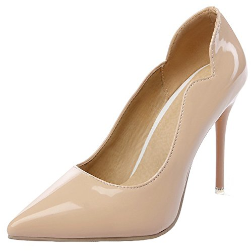 Women's High Heel Stiletto Pointed Toe Pumps(Apricot) - 5