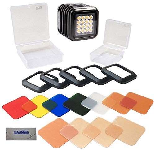 LitraTorch 2.0 Waterproof Dimmable 16-LED Video Light for Smartphone Cameras Bundle with Litra Rosco Color Filter Set Kit