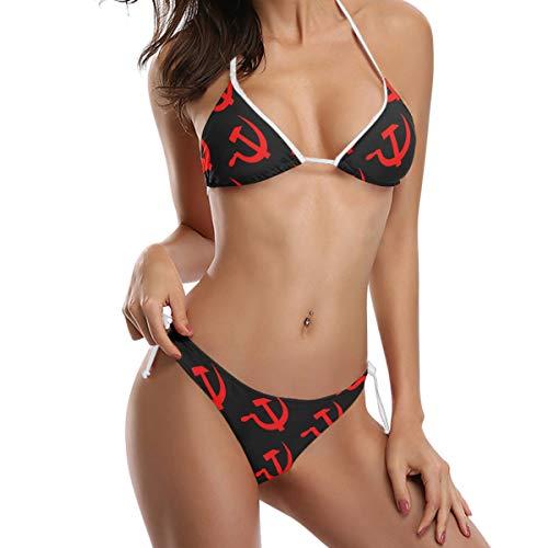 (WaKaBlues Eed Hammer and Sickle Women Triangle Bikini Swimsuit Adjustable Straps Bathing Suit)