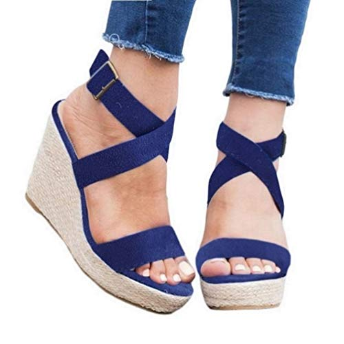 (Womens Wedge Platform Espadrille Strappy Sandals Cross Ankle Strap Slingback Open Toe High Heel Summer Sandals Blue)