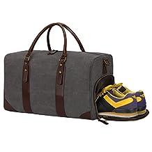 S-ZONE Canvas Leather Trim Travel Tote Duffel Shoulder Handbag Weekender Bag (Gray)