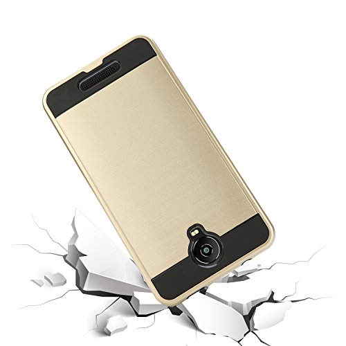BLU Studio Mega Case, BLU Advance A6 Case, Slim Armor Hybrid Cover [Scratch/Dust Proof] Defender Dual Layer Shockproof Protection Case (VGC Gold)
