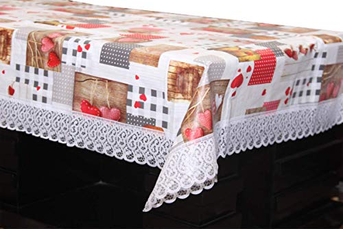 CASA Furnishing® Waterproof 4 Seater Central Table Cover with Leather Touch and White Lace (for Size 40×60 inches)
