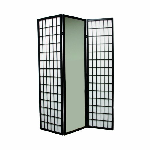 Ore International 3-Panel Black Finish Mirror Room Divider
