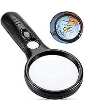Lupa con Luz - 3 Lupas con 3X 45X LED, Portátil De Mano Lupa para Lectura Observación Hobby Y Artesanía