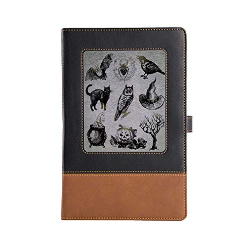 Cover Pages Made of Personalized Leather Vintage Halloween Record a Good Life Leather Notebook 8.6 6.1 Inches, A5 -