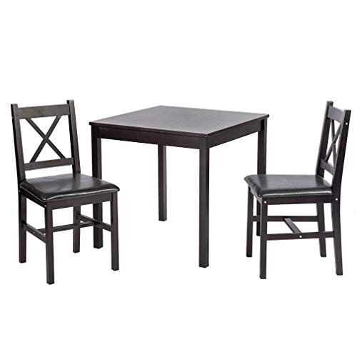 BestMassage Dining Kitchen Table Dining Set Wood 3 Piece Upholstered Grid Dining Room Table and Chairs for 2 ()