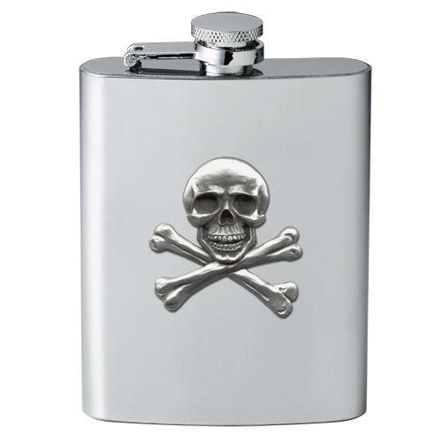 Skull & Crossbones 8 oz Stainless Hip & Travel Flask - Pewter Emblem