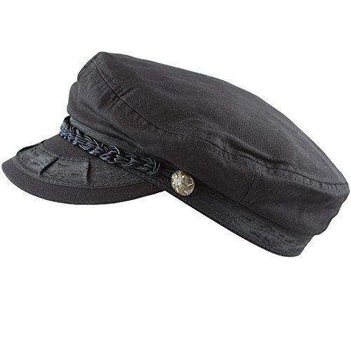THE HAT DEPOT Cotton Yachting Style Sailing Greek Fisherman Cap hat (S/M, Black)