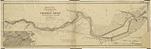 Historic Map | 1894 Sketch plan showing the existing and proposed public reservations upon the banks of the Charles between Waltham line and Craigie Bridge | Antique Vintage Reproduction