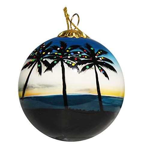 (Art Studio Company Hand Painted Glass Christmas Ornament - Palm Trees with Lights Key Largo)