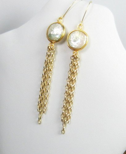 White Pearl Extra Long Dangle Earrings, Shoulder (Pearl Duster)
