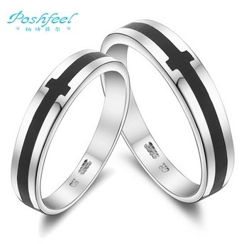 hot-sale-pf-brand-rings-fashion-925-silver-3-layers-of-platinum-loverscouple-rings-black-paint-cross