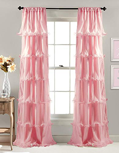 (Linens And More 2 Panel Window Sheer Voile Vertical Ruffled Waterfall Curtains84 inches Long x 50 inches Wide (Pink Ruffled))