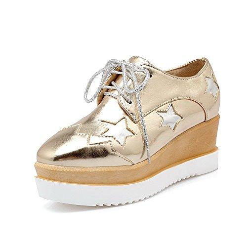 VogueZone009 Damen Schnüren PU Leder Quadratisch Zehe Mittler Absatz Pumps Schuhe Golden