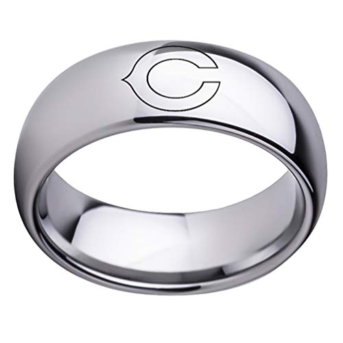 Chicago Bears Football Ring NFL Sports Titanium Steel Dome Band Jewelry Unisex Size 6-13
