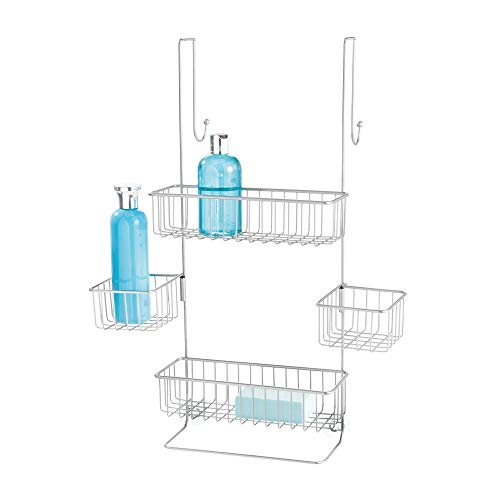 "InterDesign Metalo Metal Bathroom Over the Door Shower Caddy with Storage Baskets Shelves for Shampoo, Conditioner, Soap, Loofahs, Hand Towels, 10.5"" x 8.25"" x 22.75"", Silver"
