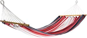 Jobek 25358 hamaca con palo de madera MISS BRASIL azul rojo blanco rayada