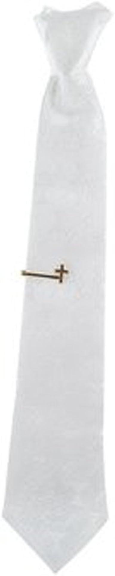First Communion Boys Tie Set White Neck Tie with Tie Clip