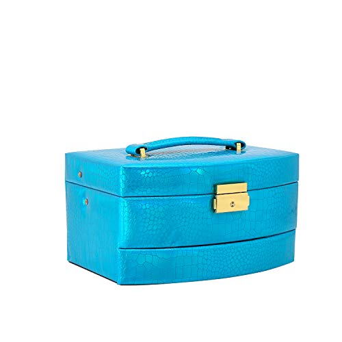 ZAKIA Jewelry Box for Women, Jewelry Organizer Box for Girls Synthetic Bright Leather Lockable with Mirror and Handle Blue/Red/Gold/Silver (Blue)