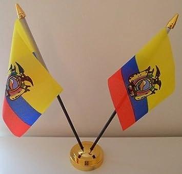 Gold Ecuador Ecuadorianischer 2 Flagge Table Desktop-Display