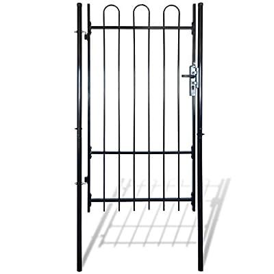 "HomeDecor 68.9"" Garden Gate Fence Gate Single Swing Steel with Spear Top, Black"