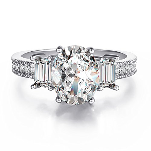 3 Carat Oval CZ Simulated Diamonds White Gold Plated Solitaire Rings for Women Size (New 3 Carat Solitaire)