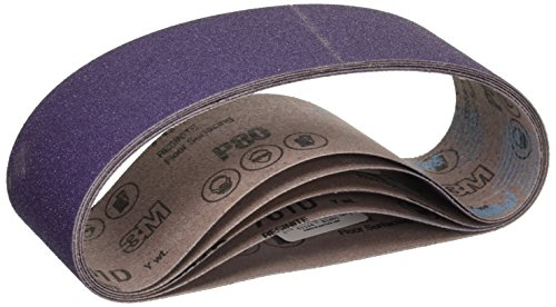 3M 81401 3-Inch by 21-Inch Purple Regalite Resin Bond 80 Grit Cloth Sanding Belt, Pack of 5