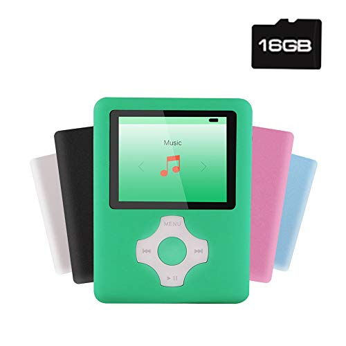 Ultrave MP3/MP4 Player with 16G SD Card, Portable Lossless Sound Player, Rechargeable MP3 Player, Support Ebook, Image Viewing MP3 Music Player -Green06