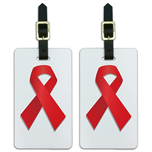 Red Awareness Ribbon Drug Free HIV AIDS Luggage ID Tags Cards Set of (Hiv Ribbon)