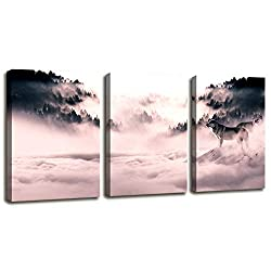 Modern Canvas Wall Art African Elephant Decor, Elephant at Sunrise Forest Wildlife Prints on Canvas Giclee Artwork Stretched Gallery Posters Stretched by Wooden Frame for Bedroom Living Room Kitchen