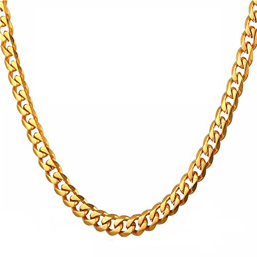 """TUOKAY 18K Gold Flat Chain, 90s Fashion Hip Hop Chain for Women and Men, Dainty & Sparkling Faux Gold Chain Necklace. 24"""" 7mm"""