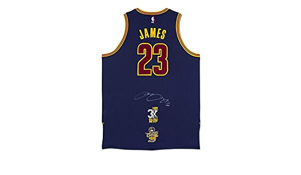b044af4e2 LeBron James Autographed Cleveland Cavaliers Authentic Adidas Alternate  Blue Jersey With 3x NBA Finals MVP Logo   2016 NBA Finals Championship Logo  at ...
