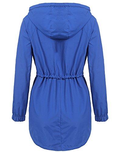 XXL Azul Oscuro S Talla Chaqueta con Mujer Grande Meaneor Impermeable Capucha Deportiva xTz4nZqw
