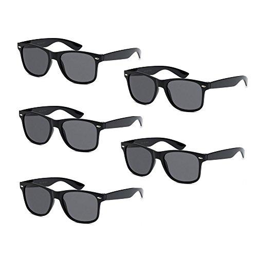 5-PACK Black Frame Smoke Lens Vintage Sunglasses