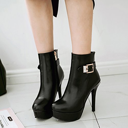 JIEEME Ladies Sexy Stiletto High Heels Zipper Ankle Women Boots Black deQmwtJMN