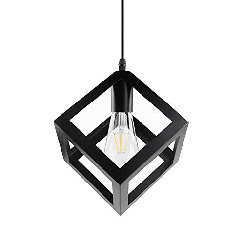 Betorcy Geometric Pendant Lighting Metal Square Pendant Light Hanging Lamp for Kitchen Island Farmhouse Bar