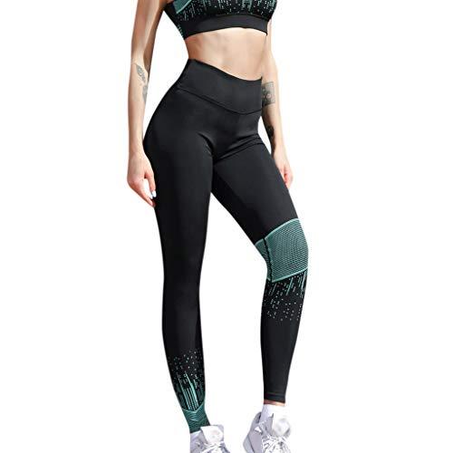 Kirbyates Women High Waist Yoga Print Legging Running Sports Fitness Pants Trouser Hip Yoga Pants Green