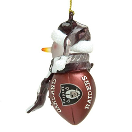 NFL Oakland Raiders Striped Snowman Football Christmas Ornament