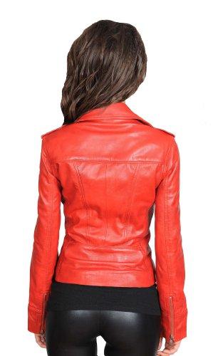Orange Piper Bronzer Marine Turquoise Veste Denim Rouge En Motard Noir Femmes Blanc Cuir Vin nOzBBU