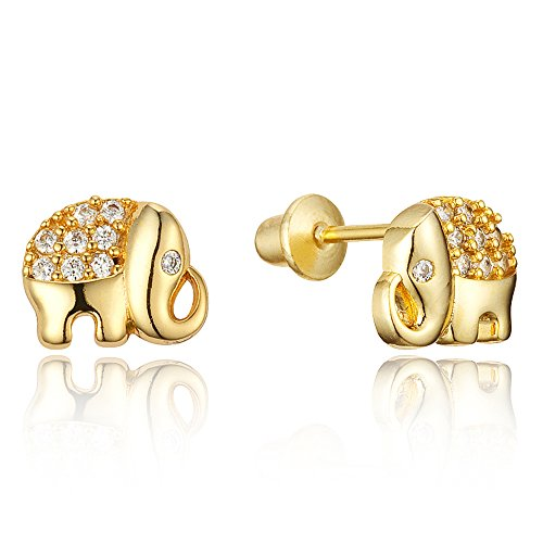 - 14k Gold Plated Brass Elephant Cubic Zirconia Screwback Girls Earrings with Sterling Silver Post